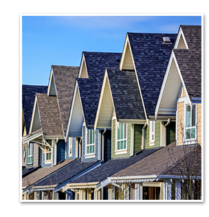 Row of Residential Roofing